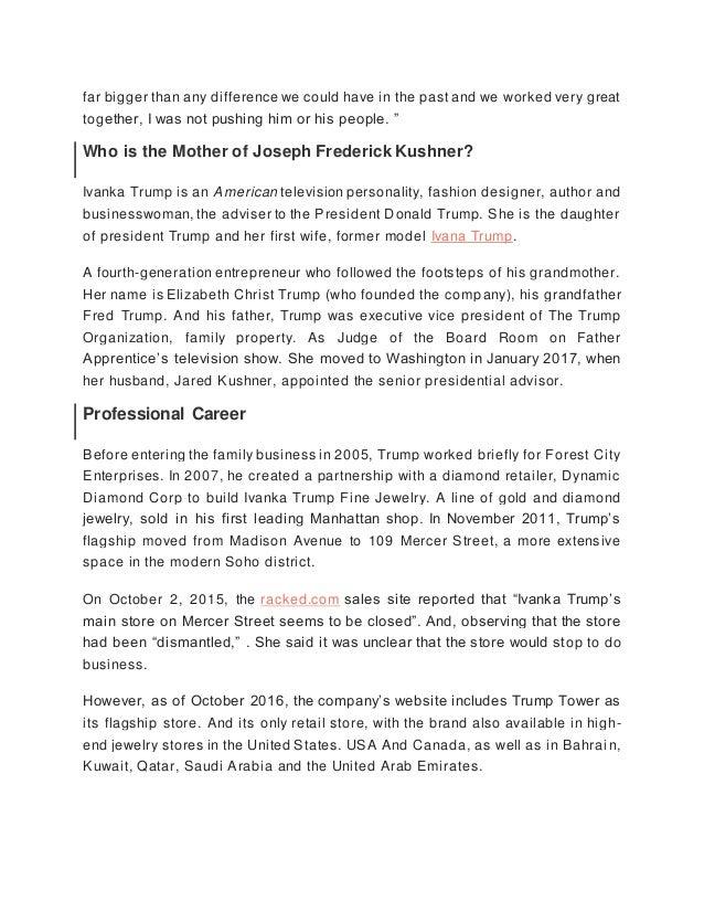 Joseph Frederick Kushner Arabella Rose Kushner Jared Kushner Family