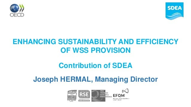 ENHANCING SUSTAINABILITY AND EFFICIENCY OF WSS PROVISION Contribution of SDEA Joseph HERMAL, Managing Director