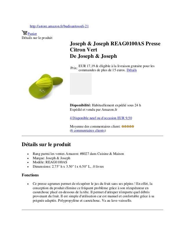 http://astore.amazon.fr/budisantosodi-21PanierDétails sur le produitJoseph & Joseph REAG0100AS PresseCitron VertDe Joseph ...