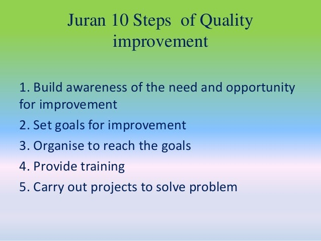 juran trilogy essay The juran trilogy was developed by dr joseph juran, and it's something i learned about recently in my total quality management and six sigma course the juran trilogy is an improvement cycle that is meant to reduce the cost of poor quality by planning quality into the product/process.