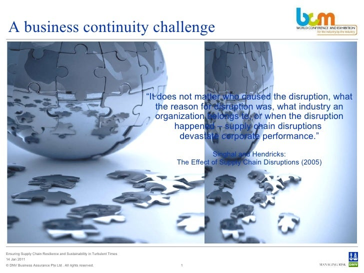 A business continuity challenge © DNV Business Assurance Pte Ltd . All rights reserved. Ensuring Supply Chain Resilience a...