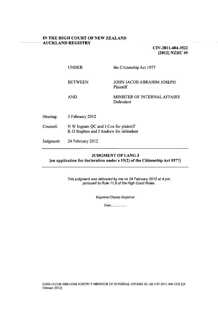 IN THE HIGH COURT O F NEW ZEALANDAUCKLAND REGISTRY                                                                   CIV-2...
