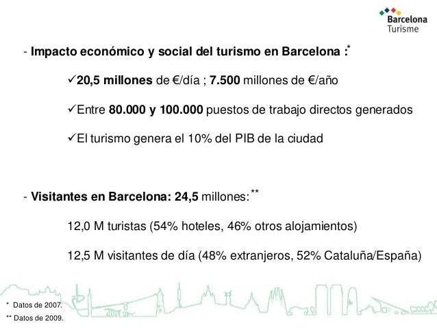 - Impacto económico y social del turismo en Barcelona :*  20,5 millones de €/día ; 7.500 millones de €/año Entre 80.000 ...