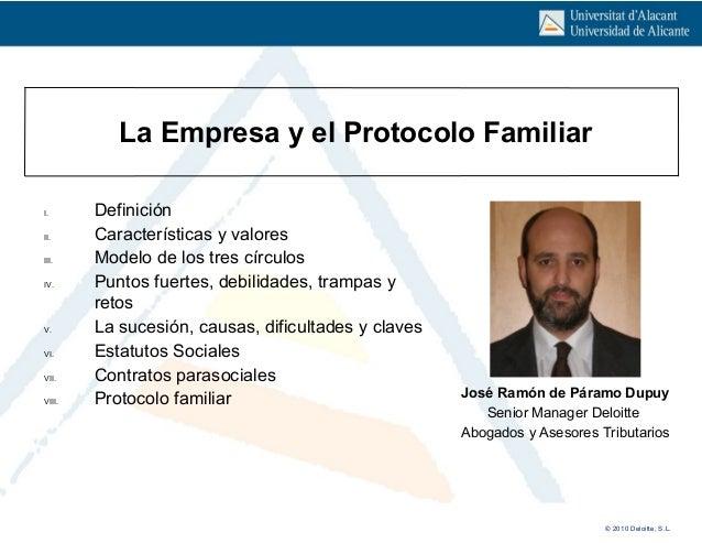 © 2010 Deloitte, S.L. Click icon to add picture Click to edit Master subtitle style La Empresa y el Protocolo Familiar Jos...