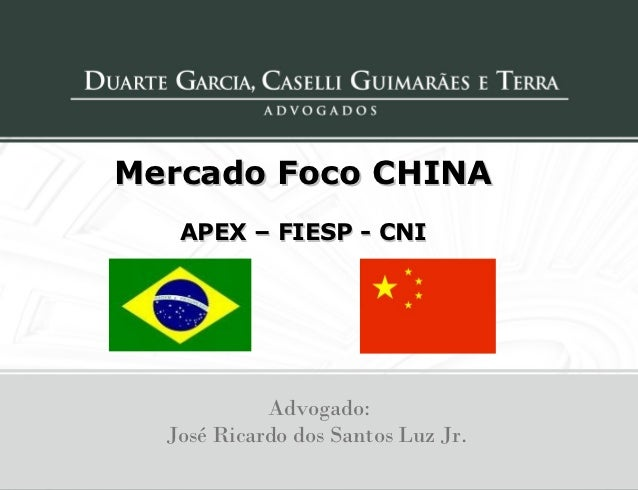Mercado Foco CHINA   APEX – FIESP - CNI            Advogado:  José Ricardo dos Santos Luz Jr.