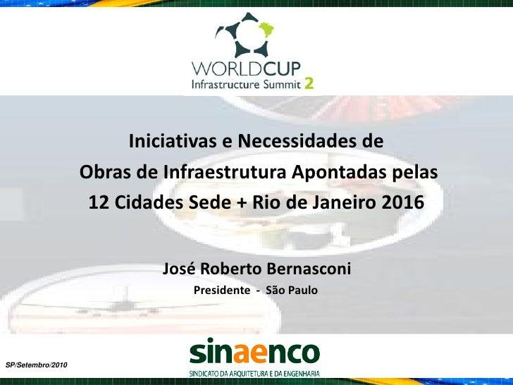 Iniciativas e Necessidades de                   Obras de Infraestrutura Apontadas pelas                    12 Cidades Sede...
