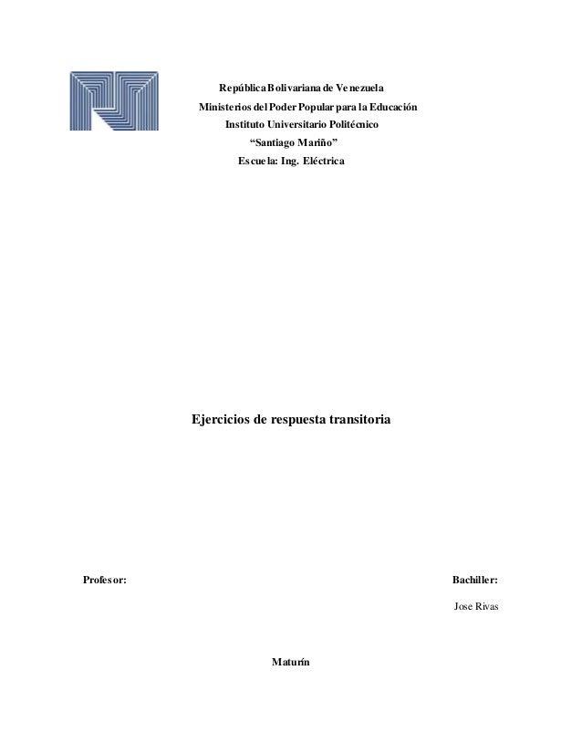 """República Bolivariana de Venezuela Ministerios del Poder Popular para la Educación Instituto Universitario Politécnico """"Sa..."""