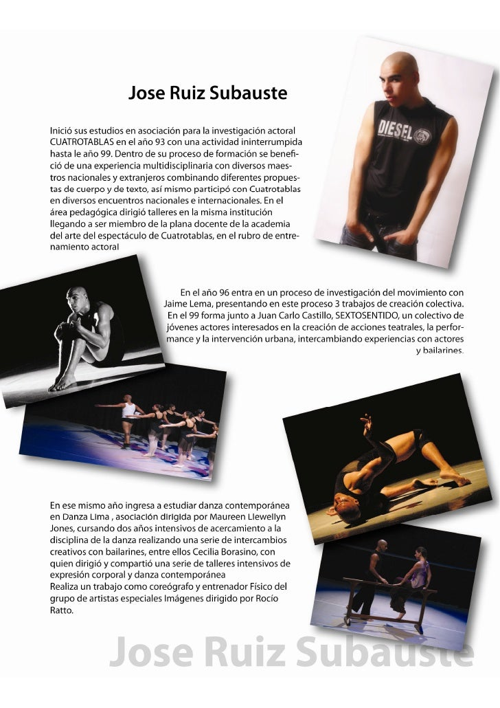 Jose Ruiz Subauste: Actor - Bailarin - Coreografo - Director / Curric…