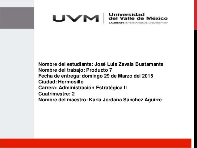 Nombre del estudiante: José Luis Zavala Bustamante Nombre del trabajo: Producto 7 Fecha de entrega: domingo 29 de Marzo de...