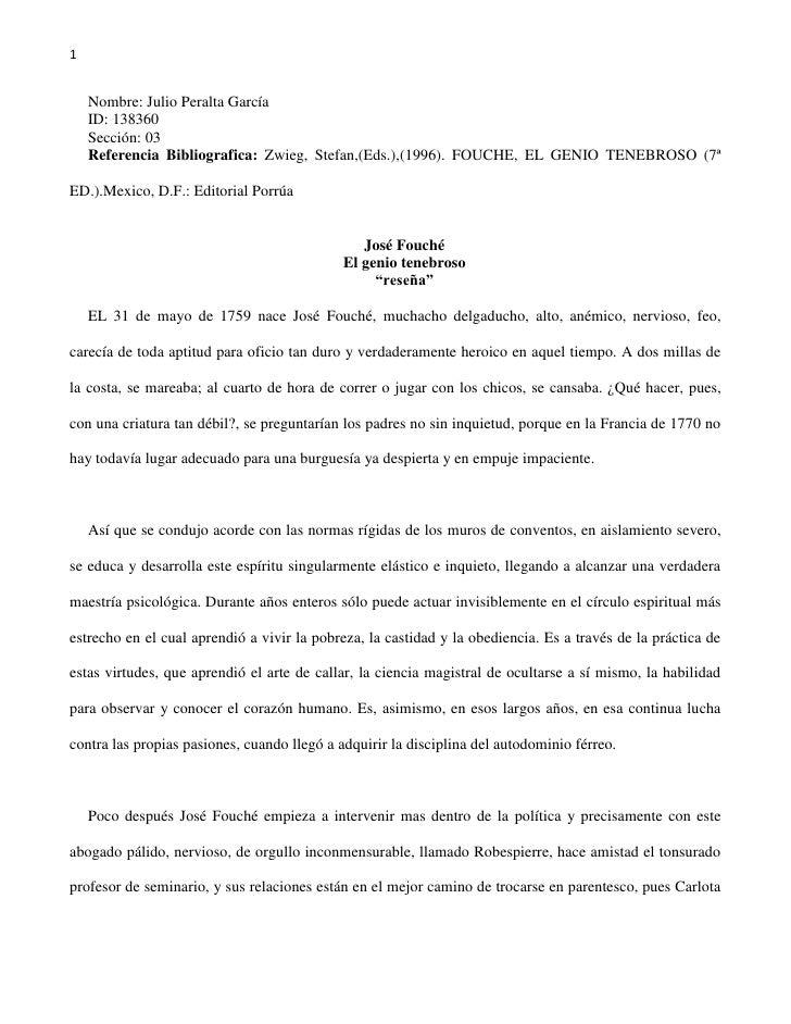 Nombre: Julio Peralta García<br />ID: 138360<br />Sección: 03<br />Referencia Bibliografica: Zwieg, Stefan,(Eds.),(1996). ...