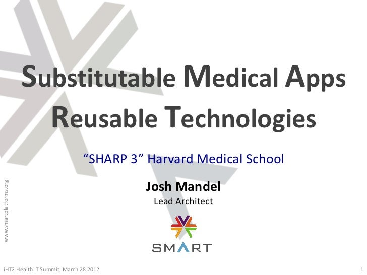 "Substitutable Medical Apps                           Reusable Technologies                               ""SHARP 3"" Harvard..."