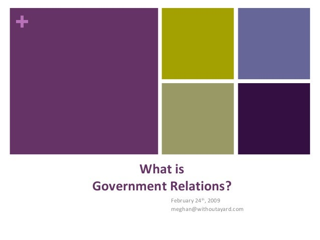 + What is Government Relations? February 24th , 2009 meghan@withoutayard.com