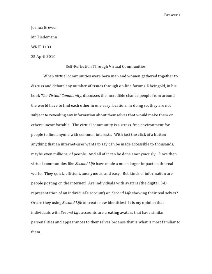 Joshua brewer virtual communities essay - final draft