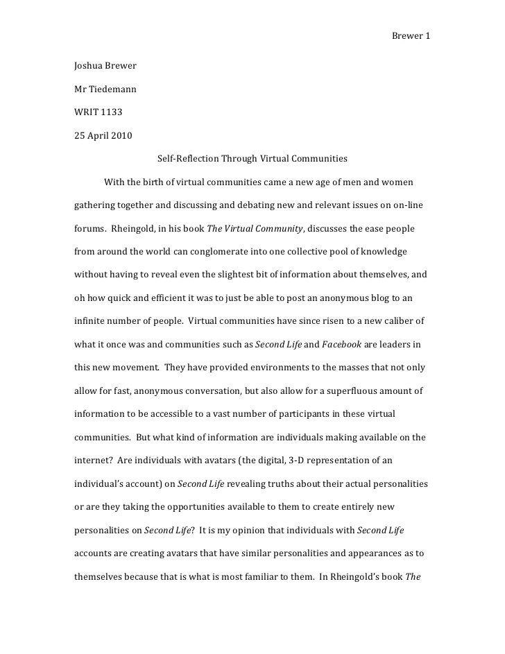 joshua brewer virtual communities essay rough draft joshua brewer virtual communities essay rough draft joshua brewer<br >mr tiedemann<br >writ 1133<br