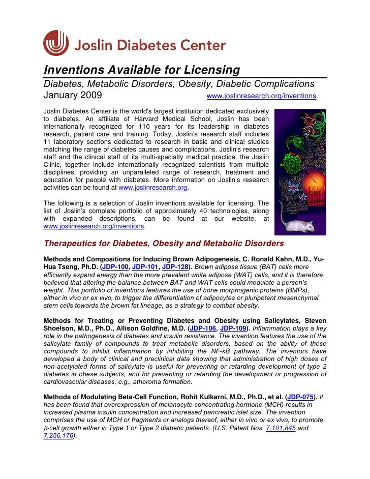 Inventions Available for Licensing Diabetes, Metabolic Disorders, Obesity, Diabetic Complications January 2009            ...