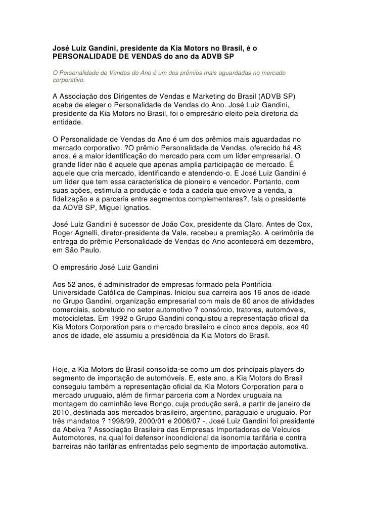 José Luiz Gandini, presidente da Kia Motors no Brasil, é o PERSONALIDADE DE VENDAS do ano da ADVB SP  O Personalidade de V...