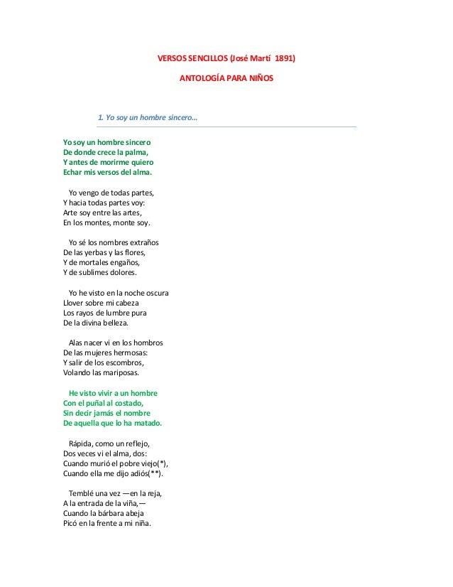 versos sencillos jos mart antologa para nios yo soy un hombre sincero