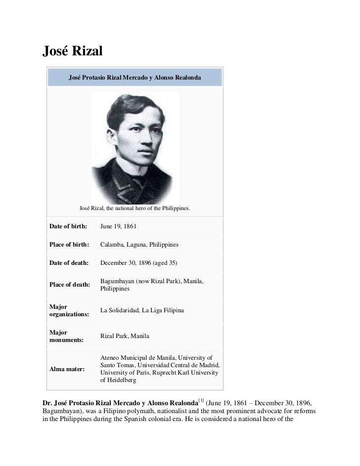 jose rizal summary Having completed his studies in europe, young juan crisostomo ibarra comes back to his motherland after a 7-year absence in his honor, capitan tiago.