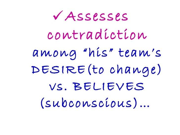 "<ul><li>Assesses contradiction among ""his"" team's DESIRE(to change) vs. BELIEVES (subconscious)…  </li></ul>"