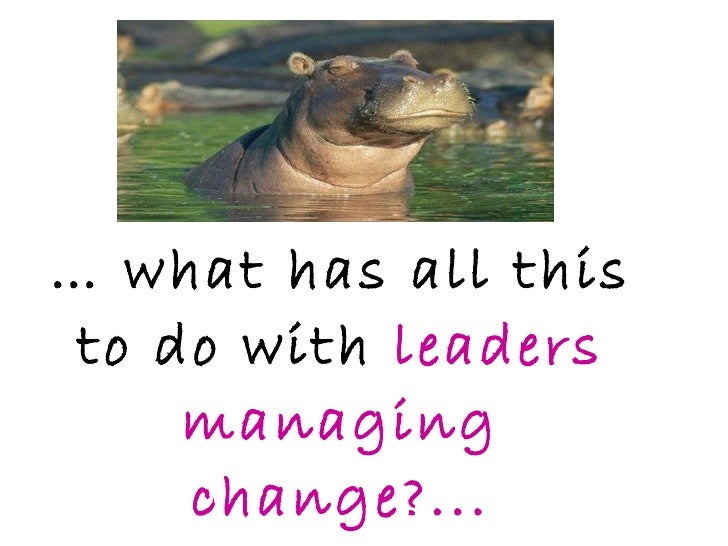 …  what has all this to do with  leaders managing change?...