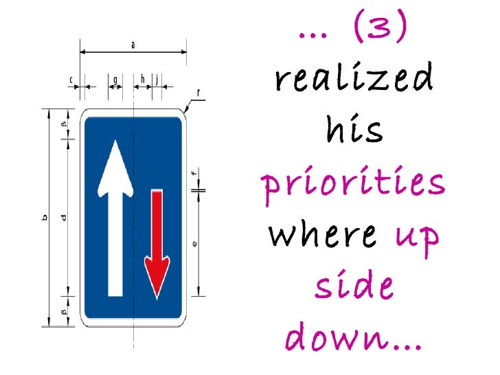 …  (3)  realized his  priorities  where  up side down…
