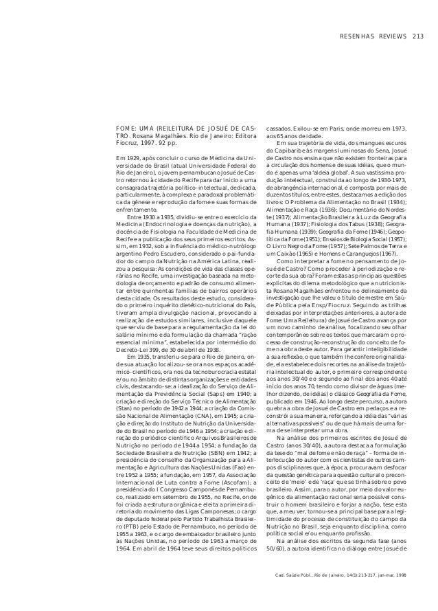 RESENHAS REVIEWS 213FOME: UMA (RE)LEITURA DE JOSUÉ DE CAS-                    cassados. Exilou-se em Paris, onde morreu em...
