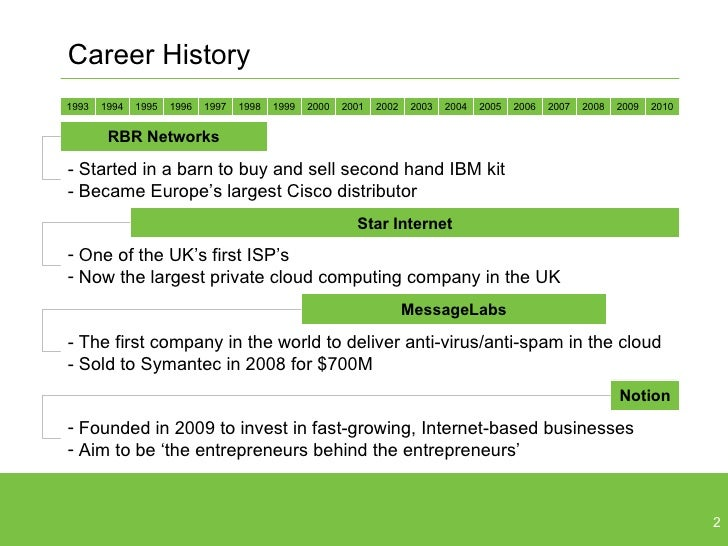 Career History - Started in a barn to buy and sell second hand IBM kit - Became Europe's largest Cisco distributor 1993 19...