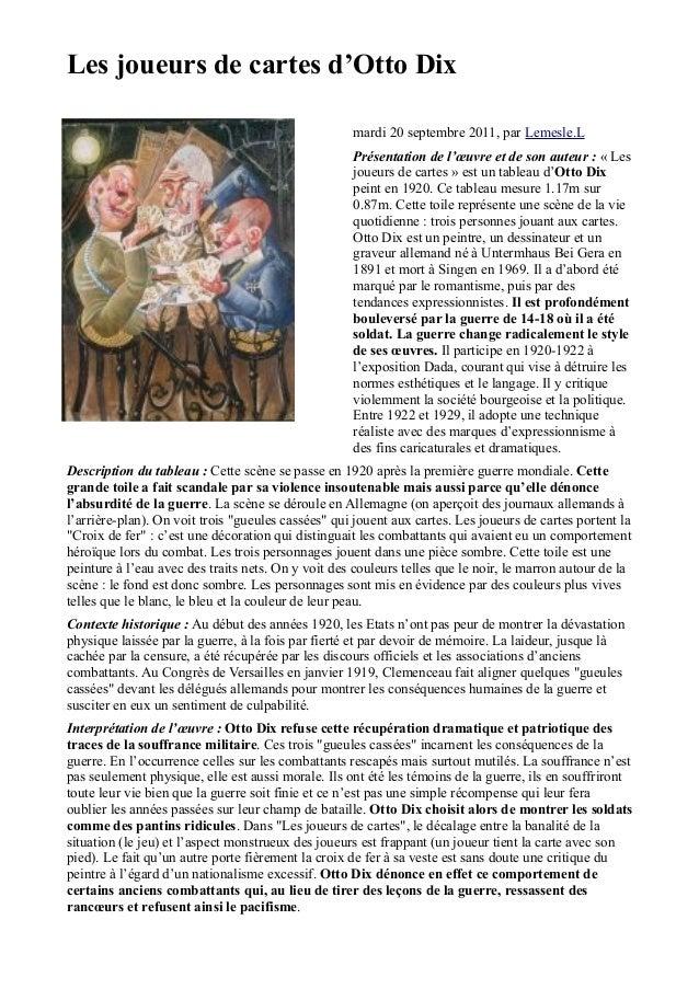 Les joueurs de cartes d'Otto Dix                                                    mardi 20 septembre 2011, par Lemesle.L...