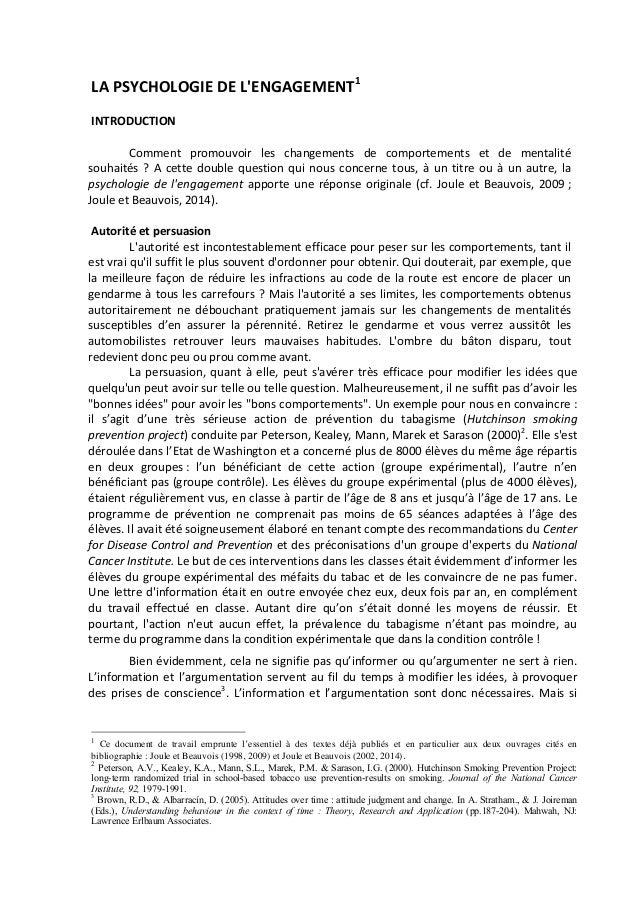LA  PSYCHOLOGIE  DE  L'ENGAGEMENT1                        INTRODUCTION           Comment  ...