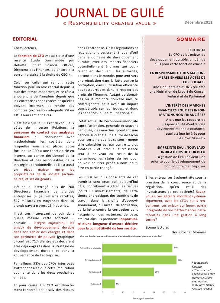 JOURNAL DE GUILÉ                                 « R ESPONSIBILITY                CREATES VALUE             »             ...