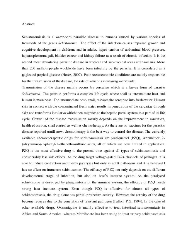 Abstract:Schistosomiasis is a water-born parasitic disease in humans caused by various species oftrematods of the genus Sc...