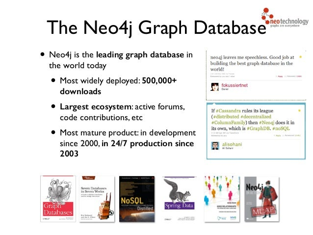• Neo4j is the leading graph database in the world today  • Most widely deployed: 500,000+ downloads  • Largest ecosyste...