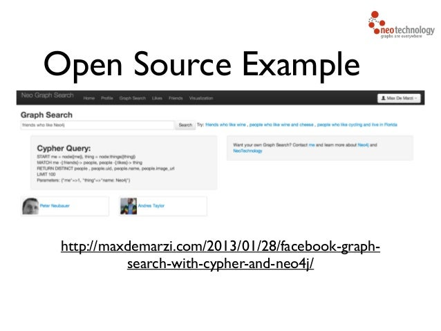 Open Source Example http://maxdemarzi.com/2013/01/28/facebook-graph- search-with-cypher-and-neo4j/