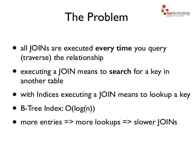 • all JOINs are executed every time you query (traverse) the relationship   • executing a JOIN means to search for a key...
