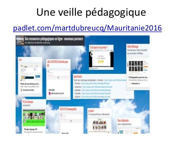 Une veille pédagogique padlet.com/martdubreucq/Mauritanie2016