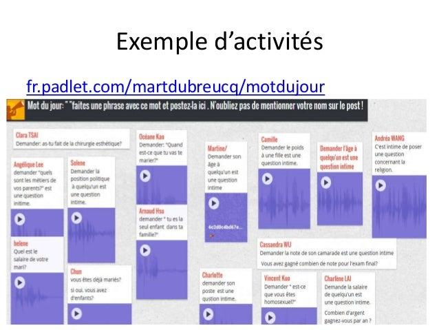 Exemple d'activités fr.padlet.com/martdubreucq/motdujour