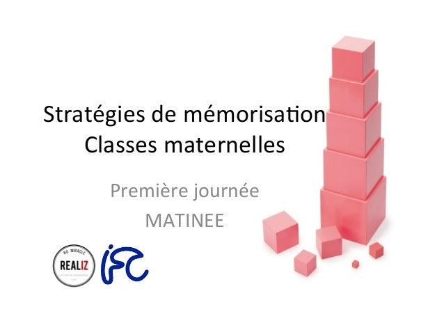 Stratégies  de  mémorisa.on   Classes  maternelles   Première  journée   MATINEE