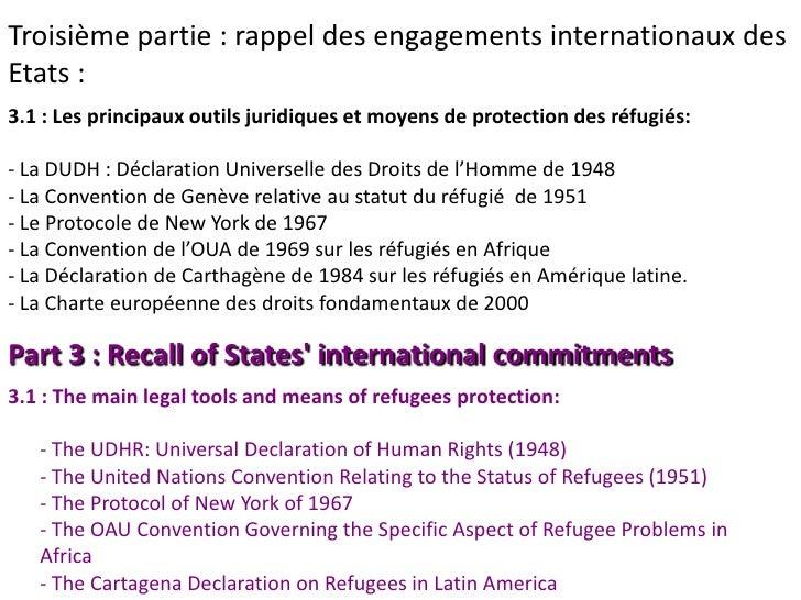 Troisième partie : rappel des engagements internationaux desEtats :3.1 : Les principaux outils juridiques et moyens de pro...