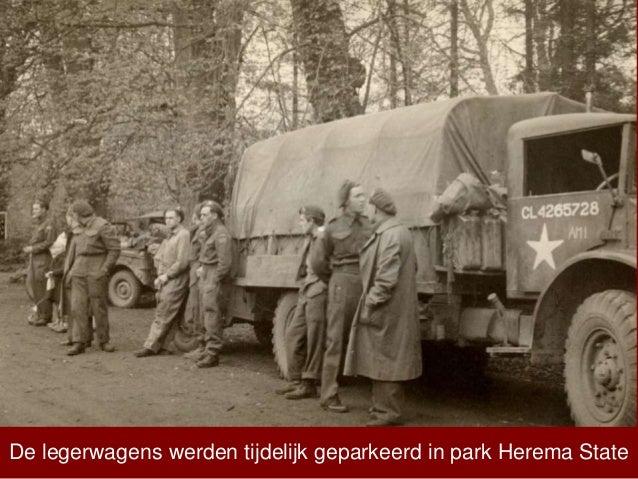 De legerwagens werden tijdelijk geparkeerd in park Herema State