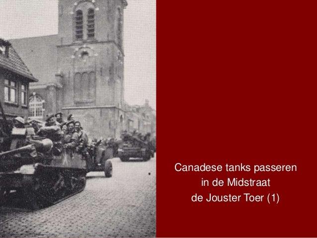 Canadese tanks passeren in de Midstraat de Jouster Toer (1)