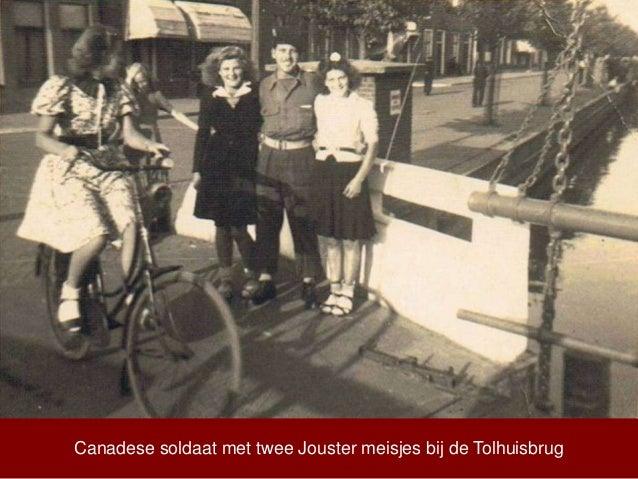 Canadese soldaat met twee Jouster meisjes bij de Tolhuisbrug