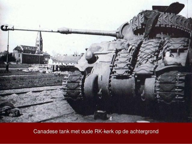 Canadese tank met oude RK-kerk op de achtergrond