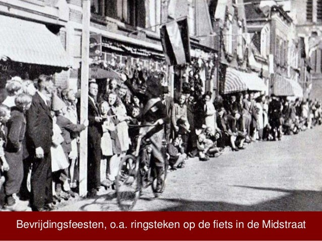 Bevrijdingsfeesten, o.a. ringsteken op de fiets in de Midstraat