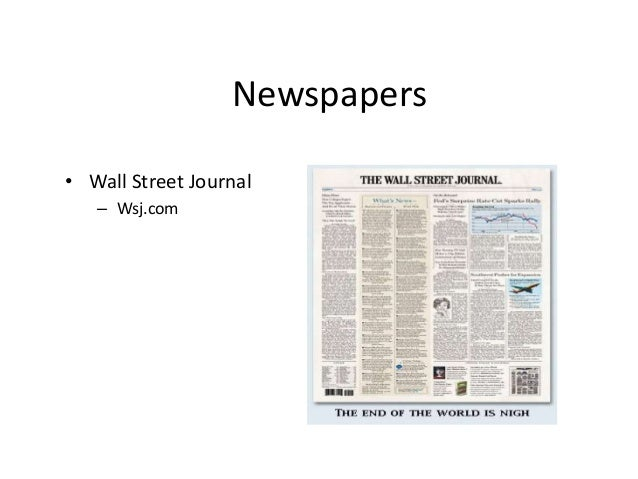 Newspapers  • Wall Street Journal  – Wsj.com