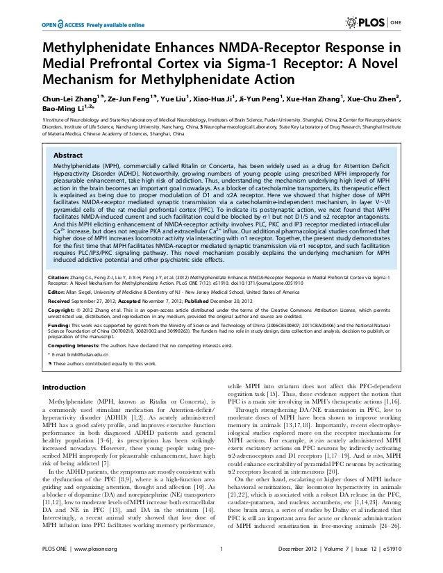 Methylphenidate Enhances NMDA-Receptor Response in Medial Prefrontal Cortex via Sigma-1 Receptor: A Novel Mechanism for Me...