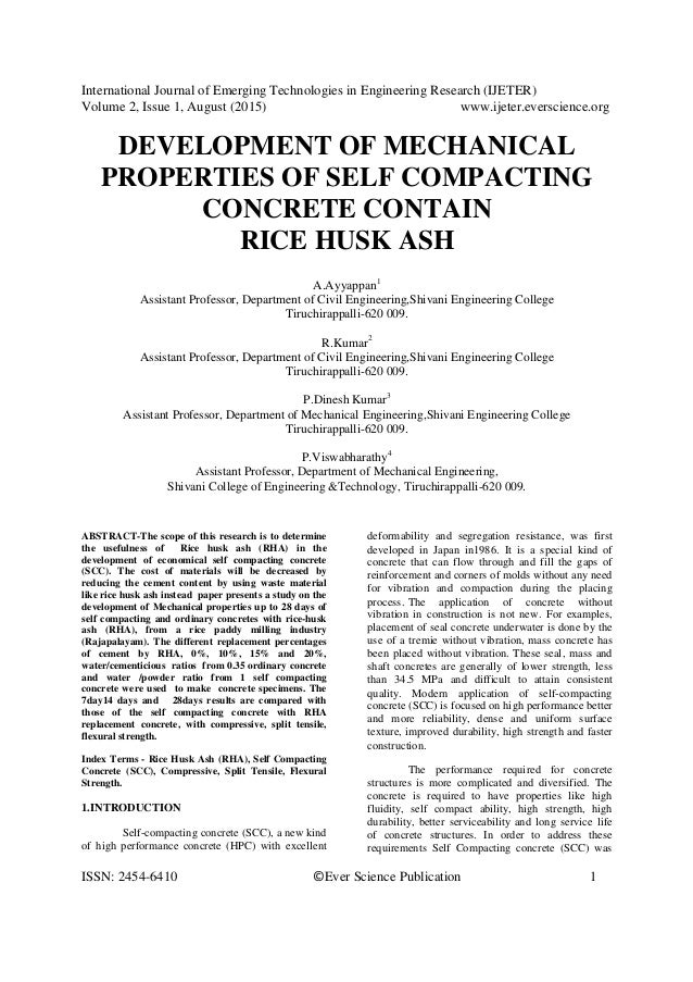 Engineering properties of self consolidating concrete