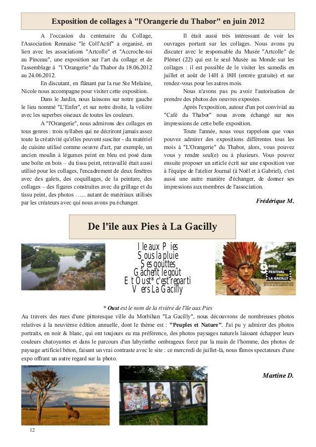 """Exposition de collages à """"lOrangerie du Thabor"""" en juin 2012         A loccasion du centenaire du Collage,                ..."""