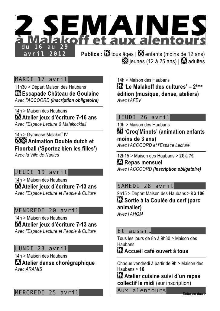 du 16 au 29   avril 2012                    Publics :   tous âges   enfants (moins de 12 ans)                             ...