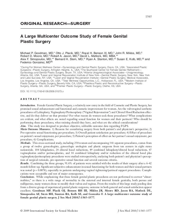ORIGINAL RESEARCH—SURGERY A Large Multicenter Outcome Study of Female Genital Plastic Surgeryjsm_1573 1565..1577 Michael P...