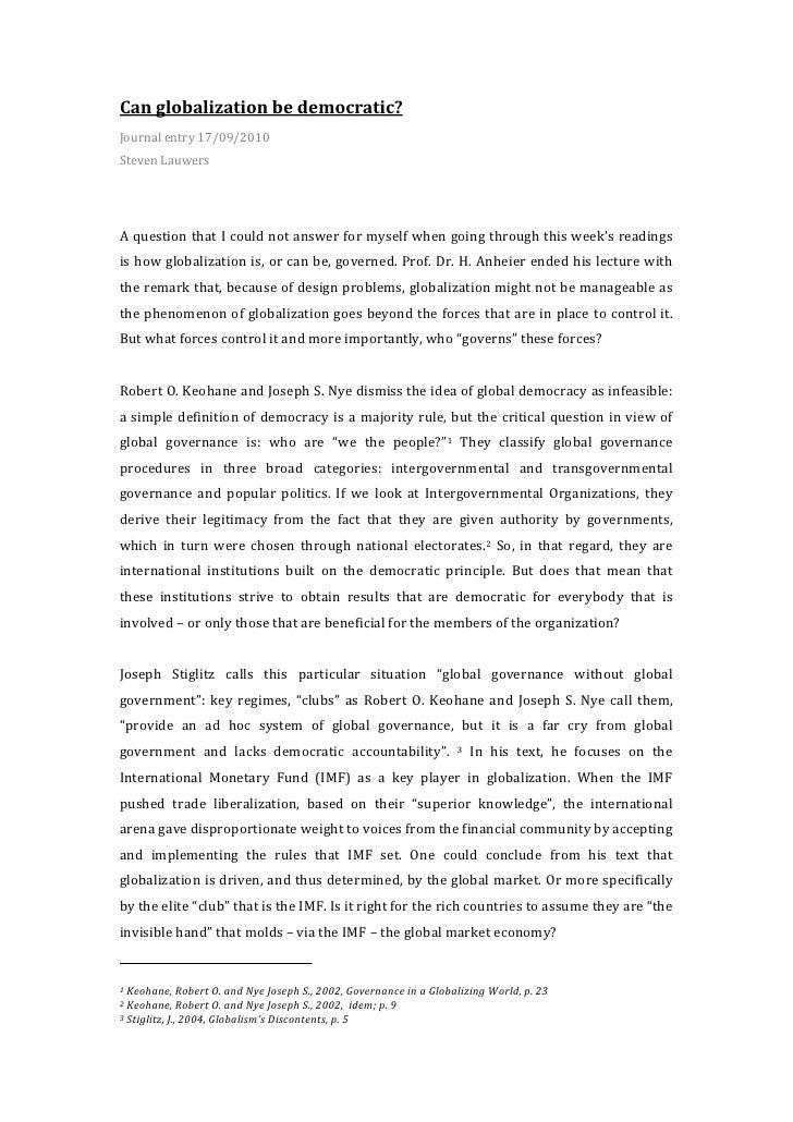 Can  globalization  be  democratic?     Journal  entry  17/09/2010   Steven  Lauwers         A  ...